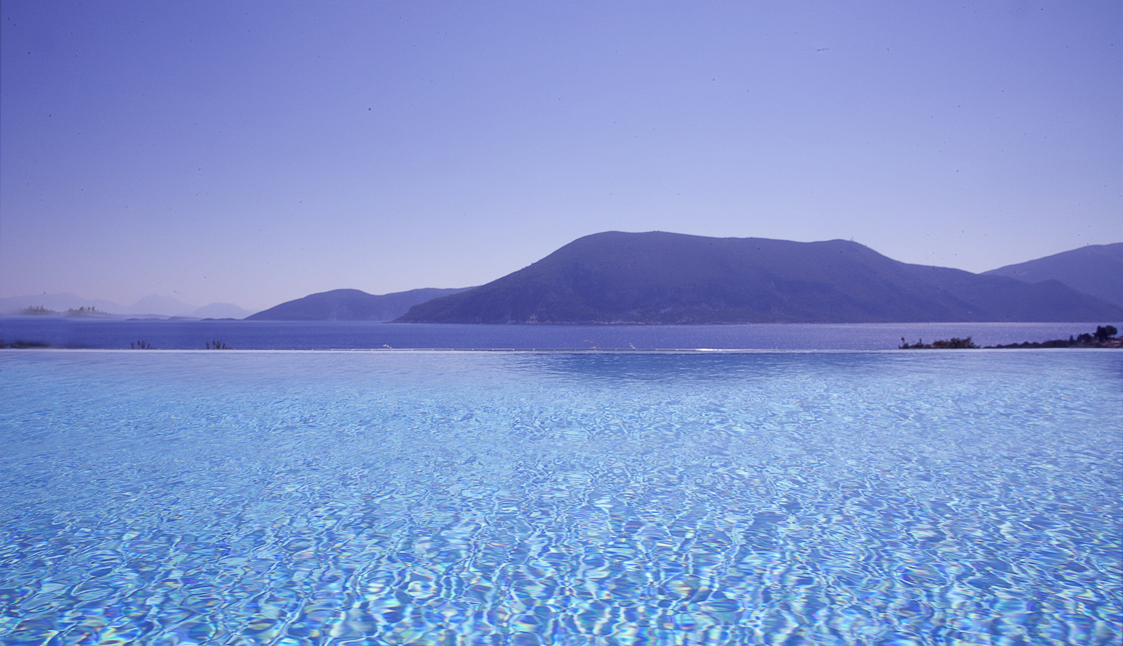 Villa Dolicha's pool with Ithaki in the background